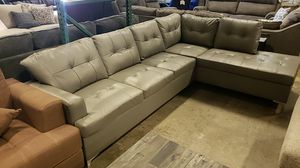 L shape sectional leather gray black or brown for Sale in Hayward, CA