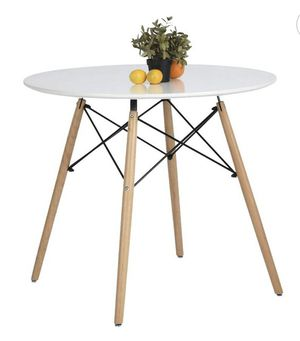 COAVAS KITCHEN DINING TABLE WHITE ROUND COFFEE TABLE MODERN LEISURE WOODEN TEA TABLE OFFICE CONFERENCE PEDESTAL DESK for Sale in Goodyear, AZ