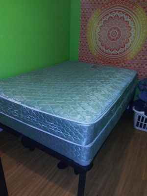 Full size bed and boxspring with metal frame for Sale in Detroit, MI
