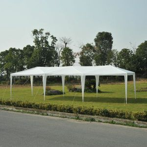 (2 Total) Outsunny 10' x 30' Easy Open Gazebo Canopy Wedding Party Tent with 8 Removable Mesh Side Walls - White for Sale in Pasadena, CA