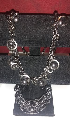 Black gun metal necklace and cuff bracelet for Sale in South Houston, TX