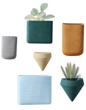 Wall Decor Planters 6 Set Morandi Color Ceramic Hanging Geometric Wall Decor Container - Great Succulent Plants, Air Plant, Faux Plants for Sale in Bakersfield, CA