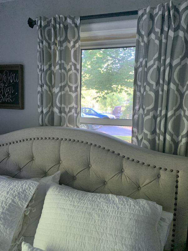 """Curtains 4 panels 84"""" length grey and white"""