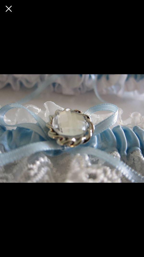 Wedding Garter Blue Garter Set Keepsake and Toss Garter