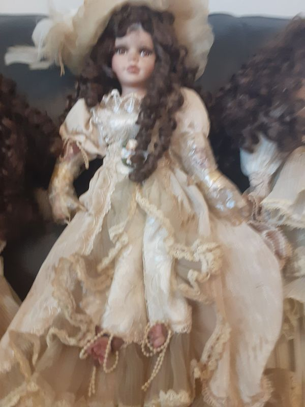 Antique Porcelin doll with stand old real hair $75.00