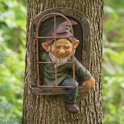 12 inch Elf Out The Door Tree Hugger - Garden Peeker Yard Art - Whimsical Tree Sculpture Garden Decoration for Sale in Tulsa,  OK