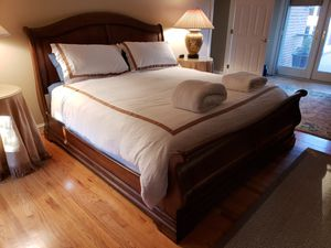 Walnut king size sleigh bed - frame only for Sale in Earlysville, VA
