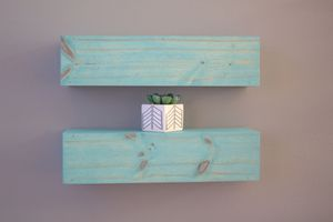 Two floating shelves vintage aqua locally hand crafted for Sale in Tampa, FL