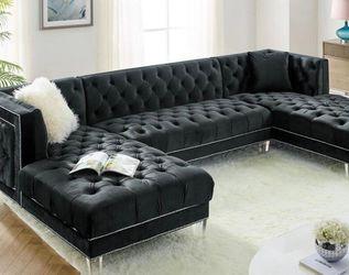 Prada Black Velvet Sectional Sofa 💕💕💕 for Sale in Houston,  TX