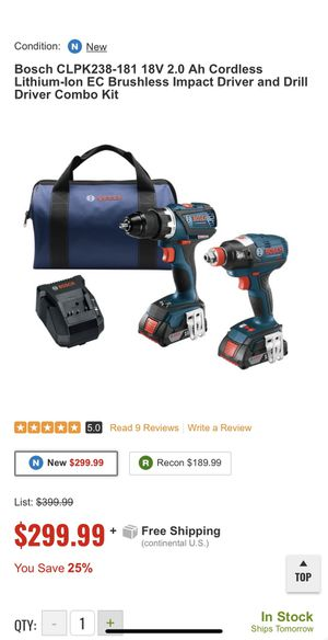 Bosch CLPK238-181 18V 2.0 Ah Cordless Lithium-Ion EC Brushless Impact Driver and Drill Driver Combo Kit for Sale in Silver Spring, MD