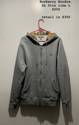 Burberry Zip Up Hoodie Grey Size XL for Sale in Franklin, OH