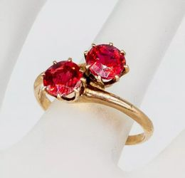 Antique Victorian 1890s 1.50ct Old Euro RUBY BYPASS 14k Yellow Gold Ring for Sale in Montesano,  WA