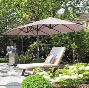 15ft Sun Shade Patio Iron Market Umbrella UV20+ Outdoor Cafe Garden Beach Khaki * new in box* for Sale in Chino Hills, CA