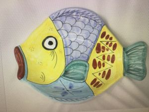 Large Vietri Italy Fish Shaped Serving Dish Bowl Platter Hand Painted 16 x 12 for Sale in Miami, FL