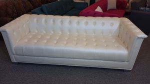 Ivory Leatherette Chester Sofa for Sale in Niles, IL