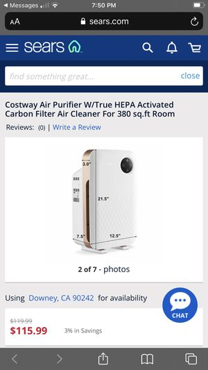 Costway Air Purifier W/True Hepa Activated for Sale in Downey, CA