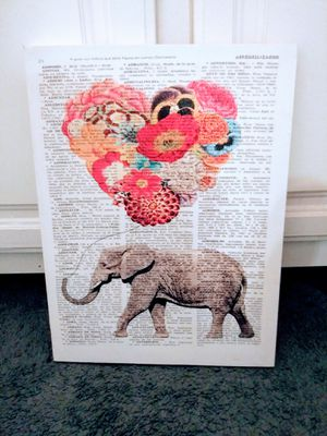 Canvas with elephant 🐘 & flower 🌼 balloon with quotes for Sale in Enoree, SC