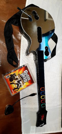 Playstation 3 Guitar hero Guitar With Game And Dongle for Sale in Fresno,  CA
