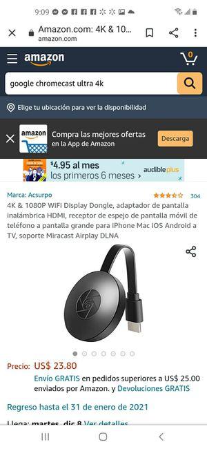Chromecast 4K. for Sale in San Diego, CA