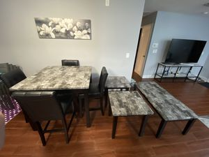 Kitchen table end table and coffee table set faux marble for Sale in Boca Raton, FL