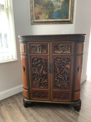 Beautiful Antique Chinese Hand Carved Wood Cabinet Bar for Sale in Kissimmee, FL