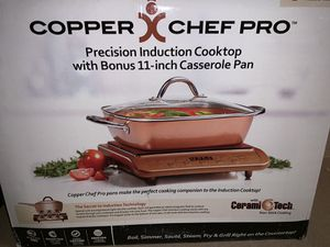 Brand new copper cheap pro casserole pan and stovetop for Sale in Phoenix, AZ