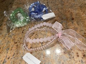 Handcut Swarovski crystal bow tie bracelet. BLUE PINK GREEN for Sale in Brooklyn, NY