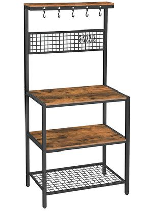 🔥BRAND NEW Kitchen Bakers Rack Cupboard with 10 Hooks, Mesh Panel, 3 Shelves, and Adjustable Feet, for Microwave Oven Cooking Utensils, Industrial, R for Sale in Brooklyn, MD