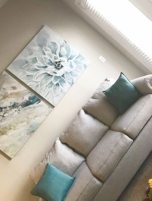 Couch, pillows, and 2 pictures for Sale in Manassas Park, VA