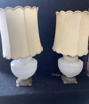 Pair Of antique Opaque/ Brass Lamps Hanging Crystals size 34x16 for Sale in Westminster, CA