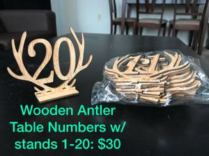 Wooden Antler Table Numbers 1-20 for Sale in Naperville, IL