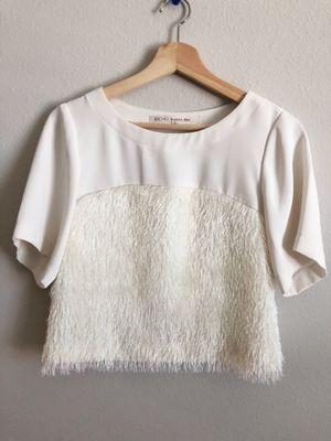 Rachel Rachel Roy NEW White Ivory Women Size S Fringe Scoop Neck Blouse for Sale in Wimauma, FL
