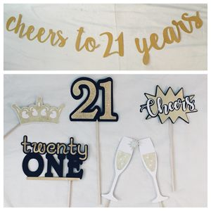 anniversary / birthday party decor & supplies - CHEERS to 21, 50, etc. YEARS banner + photo booth props for Sale in Tustin, CA