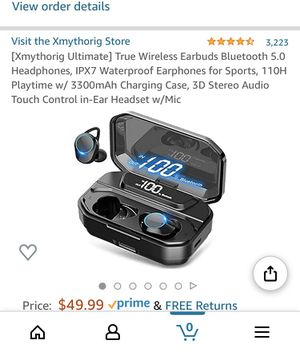 [Xmythorig Ultimate] True Wireless Earbuds Bluetooth 5.0 Headphones, IPX7 Waterproof Earphones for Sports, 110H Playtime w/ 3300mAh Charging Case, 3D for Sale in Boston, MA