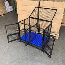 """$140 (new) Folding Dog Cage 37x25x33"""" Heavy Duty Double-Door Kennel w/ Divider, Plastic Tray for Sale in El Monte,  CA"""