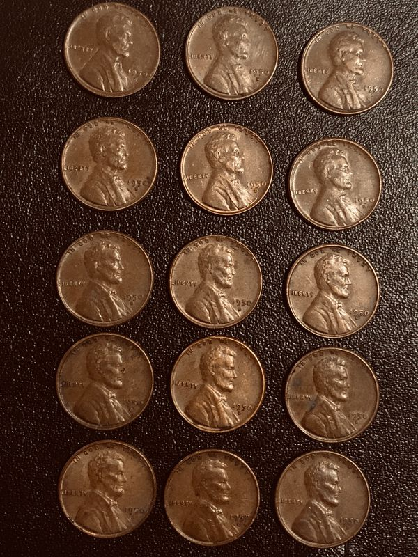 Lot 15 coins: Wheat penny's 1950 D