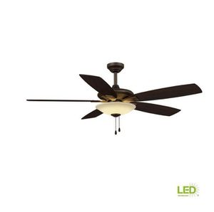 Menage 52 in. Integrated LED Indoor Low Profile Oil Rubbed Bronze Ceiling Fan with Light Kit Home and Garden TX for Sale in Houston, TX