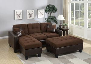Reversible sectional sofa with ottoman chocolate plus microfiber for Sale in Garden Grove, CA