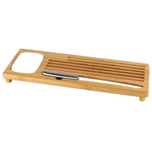 Bamboo cutting bread board with bread crumb catcher, ceramic Dipping Dish, Olive Oil Dish, large BREAD knife to cut homemade bread, loaf cake/Full br for Sale in Orange, CA