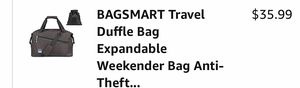 BAGSMART Travel Duffle Bag Expandable , ( black) for Sale in Pompano Beach, FL
