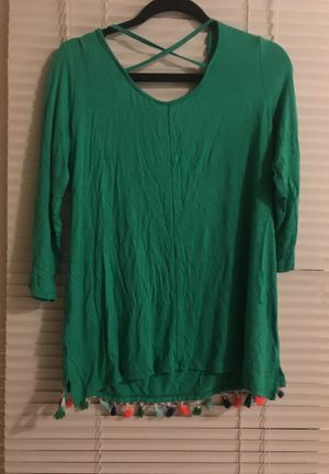 Kelly Green size Medium Top with colorful fringes / tassels for Sale in Morrisville, NC