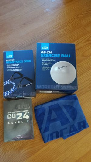 Exercise equipment - ball, resistance cord, video & towel for Sale in Beaverton, OR