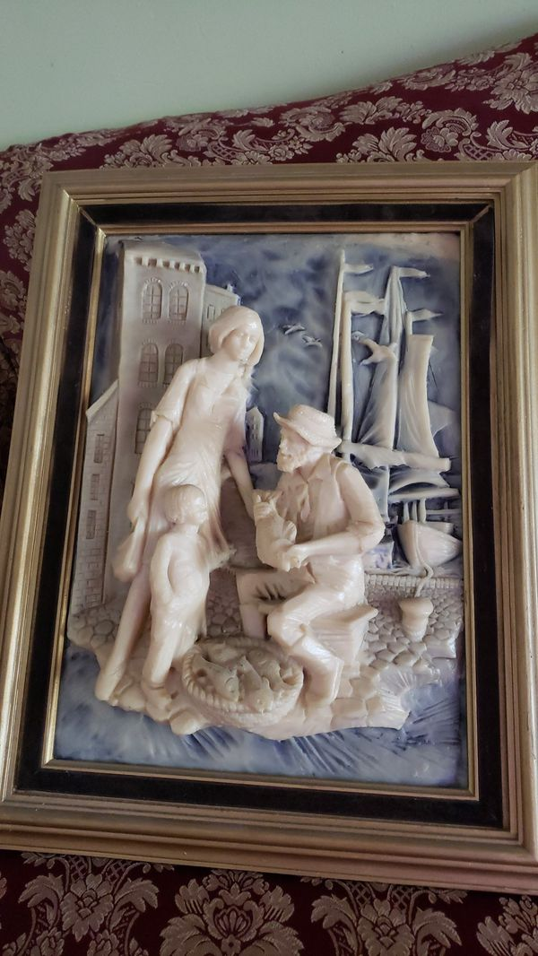 3D framed picture of lady and her boy with Fisher man