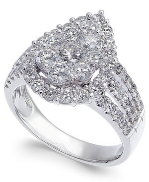 2 carat t.w. Diamond Cluster 14k White Gold Engagement Ring for Sale in Fort Drum, NY