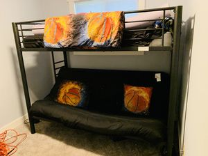 Black Metal Bunk Bed with Queen Futon for Sale in Tacoma, WA