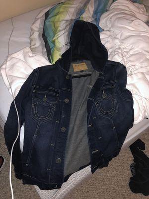 True religion jean jacket hoodie (size small) for Sale in Atlanta, GA