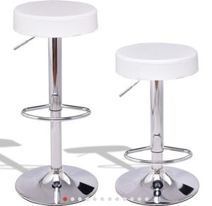 New Set of 2 Adjustable Round PU Seat Swivel Bar Stool for Sale in La Puente, CA