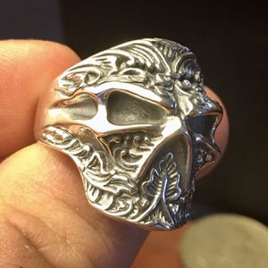 Heavy Sterling Silver Handmade Men's Skull Ring • Stamped 925 • Biker • Adjustable Size 9 10 11 12 13 for Sale in Yucca Valley, CA
