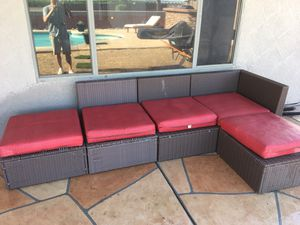 Wicker outdoor set patio furniture w cushions $150 see pics for Sale in Gilbert, AZ