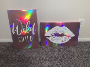 """""""Wild Child"""" pink holographic wall canvas for Sale in Cedar Hill, TX"""